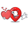 with heart map pointer navigation pin mascot vector image