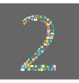 Two number social network with media icons vector image