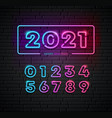 2021 colorful neon light number happy new year vector image vector image
