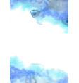 abstract fresh blue and indigo watercolor border vector image
