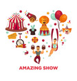 amazing show at famous great circus promotional vector image vector image