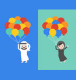 arab businessman and woman holding balloons flat vector image