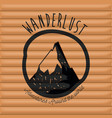 background wall wooden cabin with wanderlust logo vector image vector image