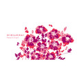 bright pink abstract flowers composition vector image vector image