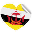 brunei flag on heart shape sticker vector image vector image