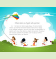 cartoon kids flying kites vector image vector image