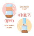coffee brewing methods chemex and aeropress vector image vector image