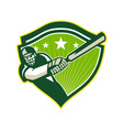 Cricket Player Batsman Star Crest Retro vector image vector image