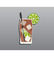 Cuba Libre cocktail with Fresh grunge design with vector image