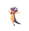 cute happy girl having fun in dinosaur costume vector image vector image