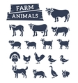 domestic farm animals flat silhouettes vector image