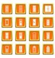 door icons set orange vector image vector image
