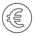 euro sign in circle thin line icon euro coin y vector image