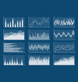 financial chart set graphs line finance trade vector image vector image