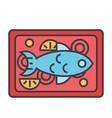fish restaurant dish concept line icon vector image vector image
