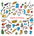 food and kitchen color hand drawn icons set vector image vector image