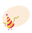 Funny birthday hat character with a smiling face vector image vector image