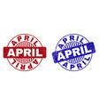 grunge april scratched round stamp seals vector image vector image