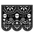 halloween papel picado design with skulls mexican vector image vector image
