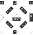 hanging sign with text rent icon seamless pattern vector image
