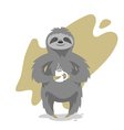 happy cute sloth with the cup of tea or coffee vector image vector image