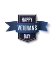 Happy Veterans Day badge on white vector image