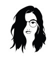 head a beautiful girl with glasses face of vector image vector image
