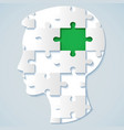 human face in the form of a puzzle with a green vector image vector image