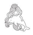 kawaii mermaid hugging dolphin vector image vector image