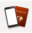 modern smartphone with passport travel vector image vector image