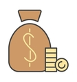 Money bag sign icon currency business symbol flat vector image vector image