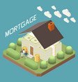 mortgage loan isometric composition vector image vector image
