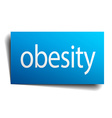 obesity blue paper sign on white background vector image vector image