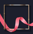 pink ribbon and golden frame on dark background vector image vector image