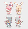 rabbits and cats with food vector image vector image