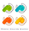 referee whistle colors set vector image