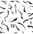 Seamless hand drawn monochrome arrows pattern vector image