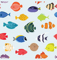 seamless pattern with fishes hand drawn undersea vector image vector image