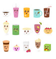 set cute drinks in flat vector image vector image