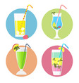 set of cocktails iconsflat style vector image