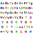 Set of letters and numbers buttons vector image