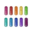 Set of Multicolored Capsules Isolated vector image vector image