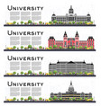 set university campus study banners isolated vector image vector image
