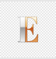 silver and gold font symbol alphabet letter e vector image