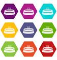 stadium icon set color hexahedron vector image vector image