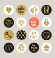 Valentines holiday set glitter gold design vector image