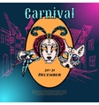 Venetian carnival mask composition poster vector image vector image
