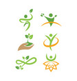wellness nature logo icon design template vector image