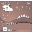 winter background snowflakes trees house vector image