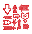 arrows set - rubber stamp texture vector image